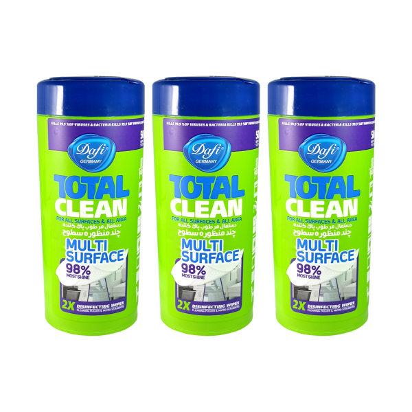 دستمال مرطوب تمیز کننده سطوح دافی مدل 3ANTIBACTERIAL مجموعه 3 عددی